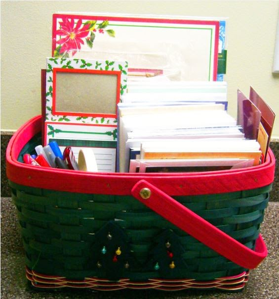 Writing supplies for Operation Christmas Child shoebox letters