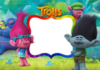 Para hacer invitaciones, tarjetas, marcos de fotos o etiquetas, para imprimir gratis de Trolls.