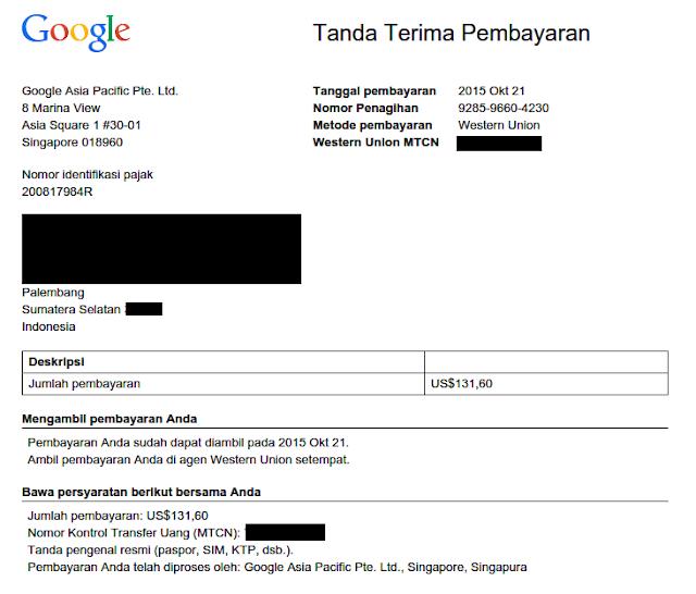 Bukti Pembayaran gaji dari google adsense