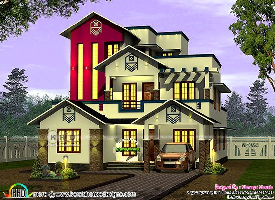 2345 square feet 4 bedroom mixed roof home plan