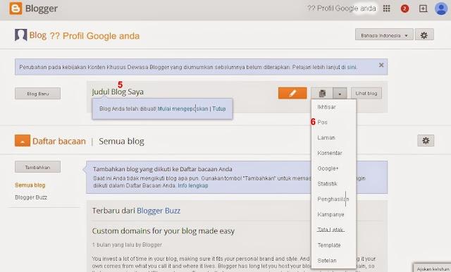 Judul, Alamat dan Template Blogger blog sudah selesai