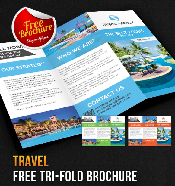 100 free premium brochure templates photoshop psd for Free travel brochure templates