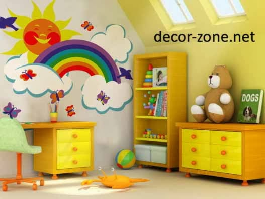 creative nursery wallpaper, nursery decor ideas