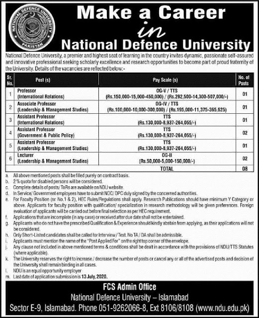 national-defence-university-ndu-islamabad-jobs-june-2020-apply-online
