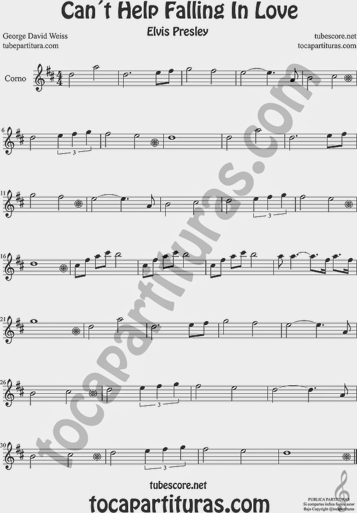 Can´t Help Falling in Love Partitura de Violonchelo y Fagot Sheet Music for Cello and Bassoon Music Scores Can´t Help Falling in Love  Partitura de Trompa y Corno Francés en Mi bemol Sheet Music for French Horn Music Scores