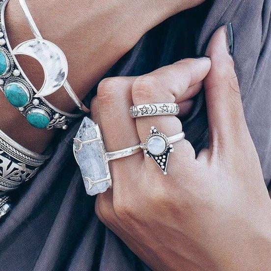 Boho Yewelry: Moon Bracelet, Turquoise Stone Bracelet, Quartz White Raw Ring