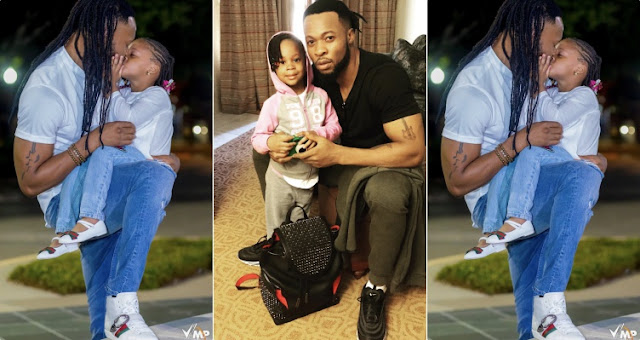 Flavour kisses his daughter on the lip as he celebrates her on her 3rd birthday