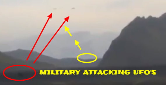 The firing on to two UFOs from the side of a hill.