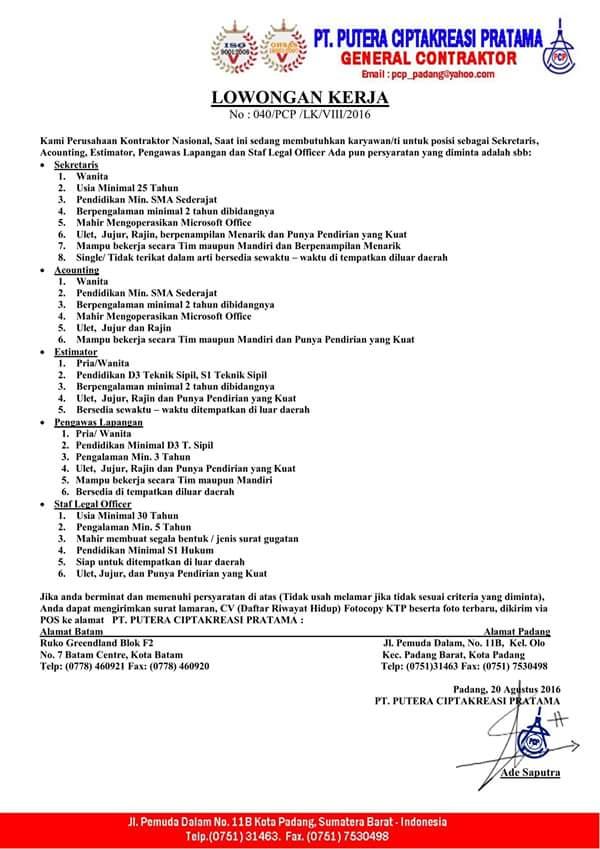 Lowongan Kerja di Padang – PT.Putera CiptaKreasi Pratama – 5 Posisi (Agustus 2016)