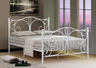 White Metal Bed Frame, No mattress, 4Ft small Double, With Crystal Finials, £79.99