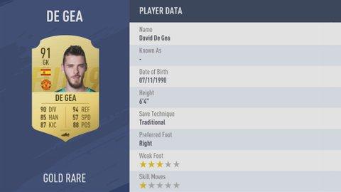 FIFA 19 Player Rankings - De Gea