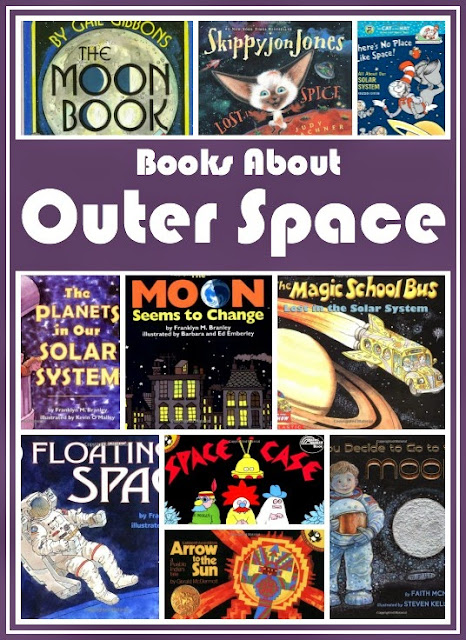 Children's book list about outer space. Reviews of each. Choices for toddlers, preschoolers and elementary children. Fiction and non-fiction.