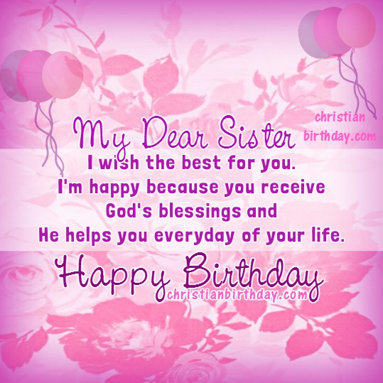 Happy Birthday My Dear Sister Christian Card