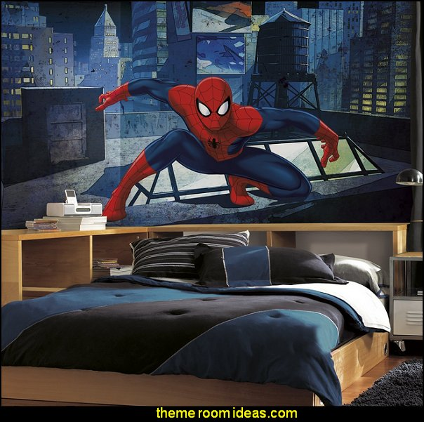 Spiderman Cityscape Xl Chair Rail  spiderman bedroom decorating ideas - spiderman room decor - Spiderman rooms - superhero bedrooms - Spider web curtains  - spiderweb bedding - Marvel Heroes wall murals -  Avengers wallpaper murals -  superhero theme bedrooms