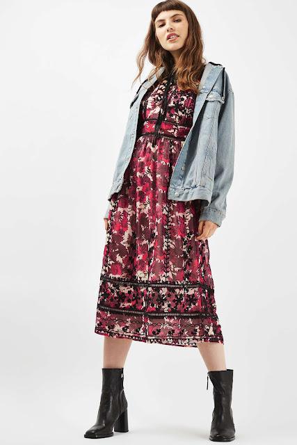 floral lace up dress, neck tie floral dress, topshop floral dress,