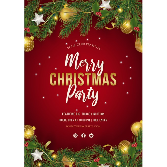Christmas party poster with realistic decoration Free Vector