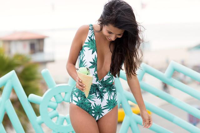 Sexy one-piece swimsite, Mara Hoffman Palm Print One-Piece, how to wear one piece, Manhattan Beach