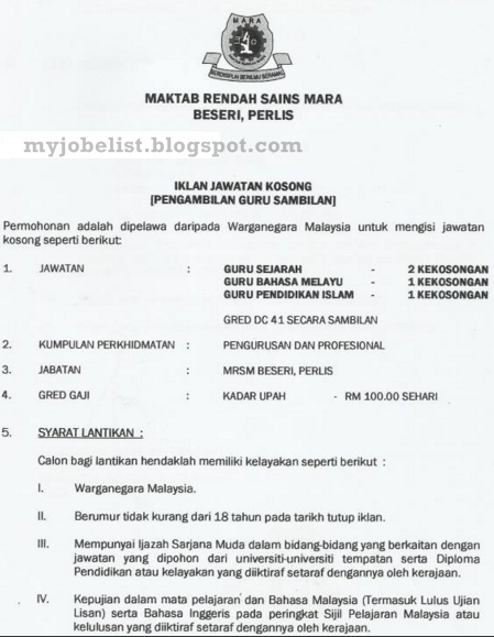 Jawatan Kosong Guru Di Maktab Rendah Sains Mara Mrsm Februari 2016