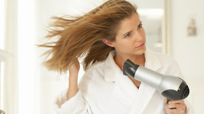 stop blow drier in wet hair,excessive heat damages the hair.