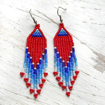 купить яркие красные серьги с бахромой ручная работа украшения