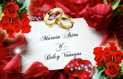 Tarjeta de Invitación para Boda Elegante y Novedosa Roja con Rosas Rojas y Anillos