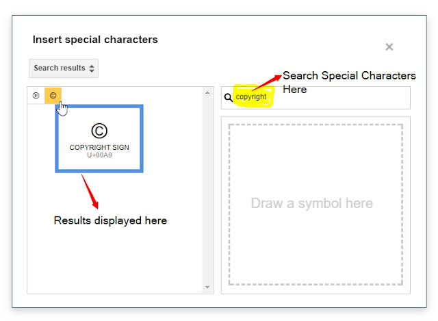 Add special characters by Searching Them