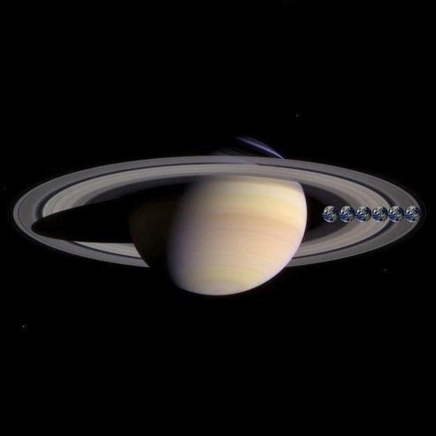 besar bumi jika di bandingkan dengan Saturnus