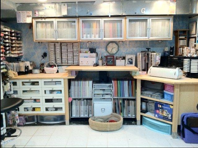 Crafty storage sharon 39 s basement workshop for Basement workshop plans
