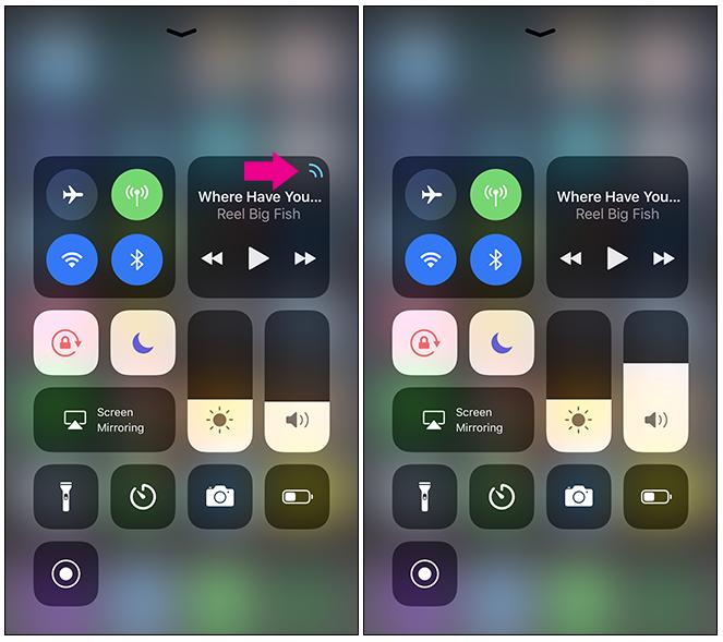 Control Center per modificare rapidamente il dispositivo a cui è collegato il tuo iPhone