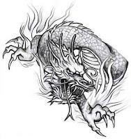 чёрно-белые эскизы тату дракона