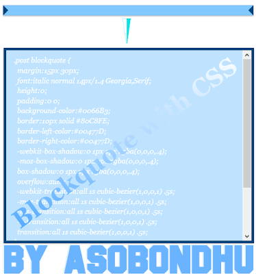 আপনার ব্লগে যুক্ত করে নিন একটি অসাধারন CSS Blockquote আর আপনার পোস্টকে করে তুলুন আর সুন্দর ।