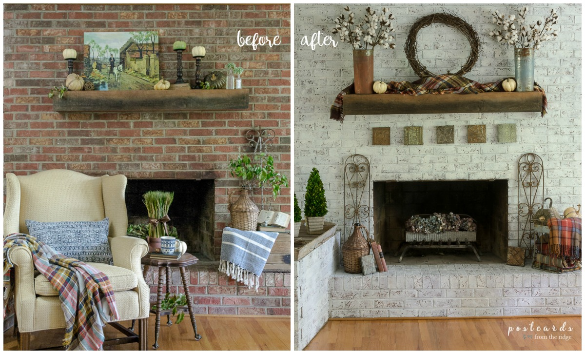 dated brick fireplace before and after update with paint