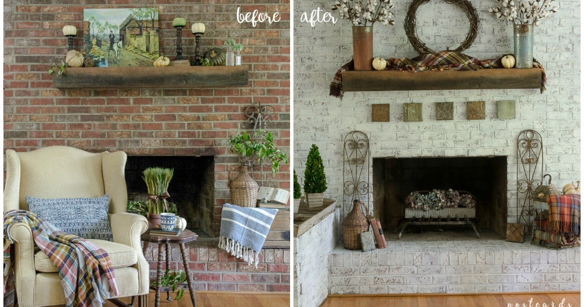 How to update a brick fireplace with a unique paint - How to make a brick fireplace look modern ...