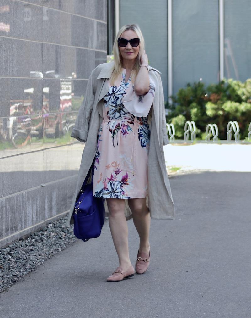 trench coat, flower dress
