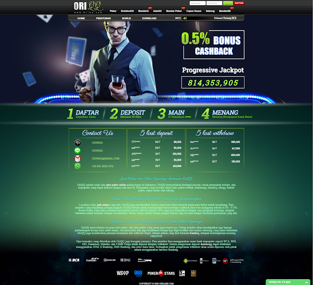 OriQQ Situs Judi Poker Online Terpercaya Dominoqq Bandarq Indonesia