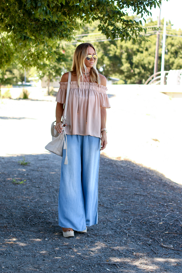 summer off shoulder top wide leg pants