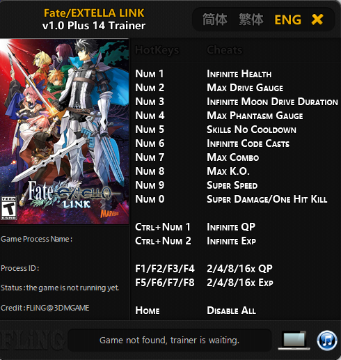 Trainer Cheat Fate/Extella Link PC