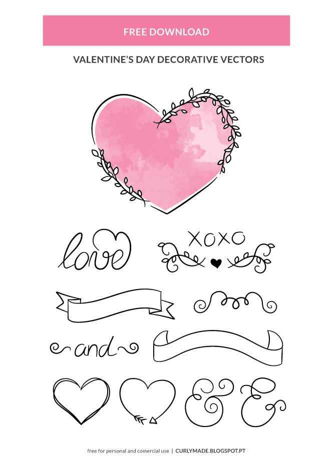 Free Heart Vector Graphics for Wedding Invitations, Cards, Heathers, Posts