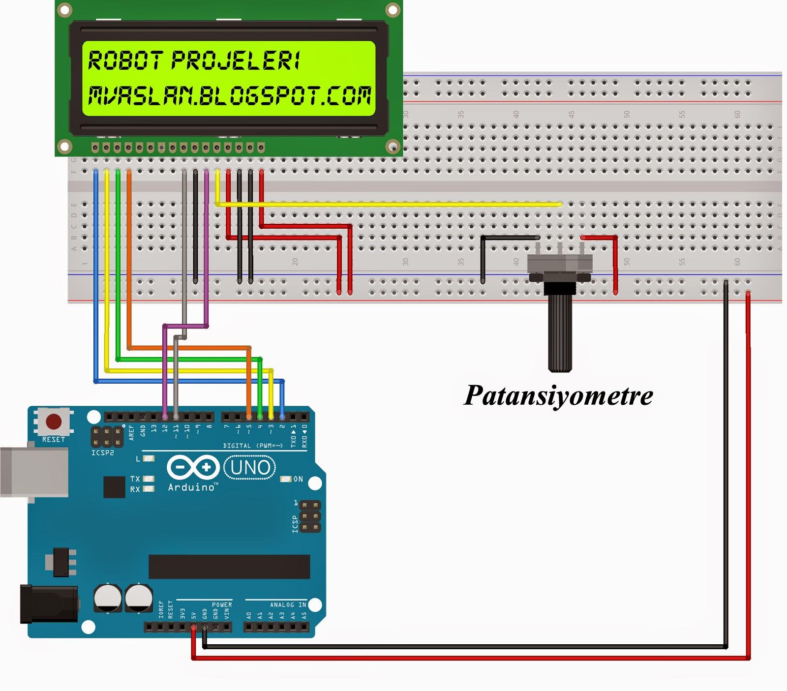 Arduino ile lcd kullanımı robot projeleri