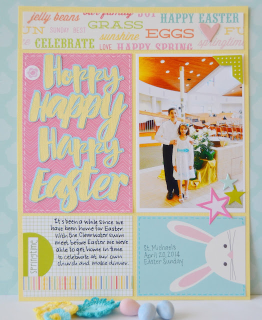 Hoppy Happy Easter Scrapbook Page featuring Eggcellent Adventure Free Digital Cut File by Juliana Michaels