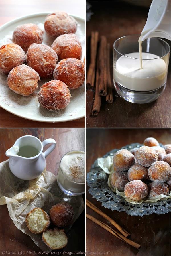 mini pączki cynamonowe z mlekiem kawowo-cynamonowym