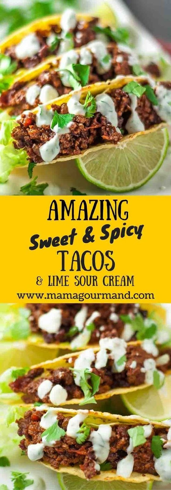 SWEET AND SPICY TACOS WITH LIME SOUR CREAM