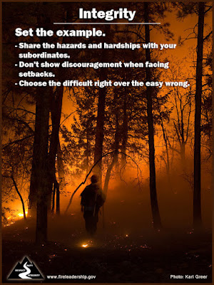 Set the example. - Share the hazards & hardships with your subordinates. - Don't show discouragement when facing setbacks. - Choose the difficult right over the easy wrong.