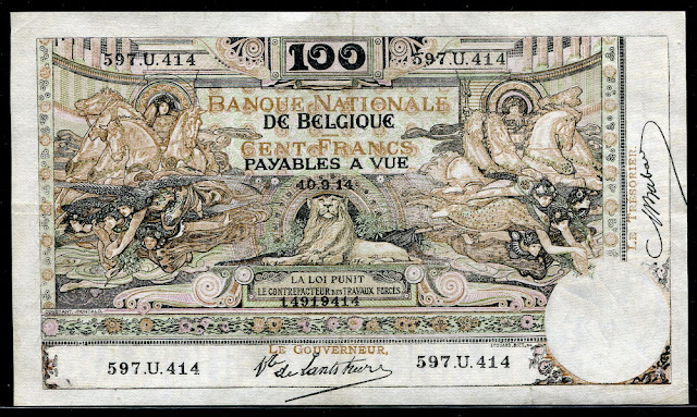 World money currency Belgium Belgian francs banknotes notes bill