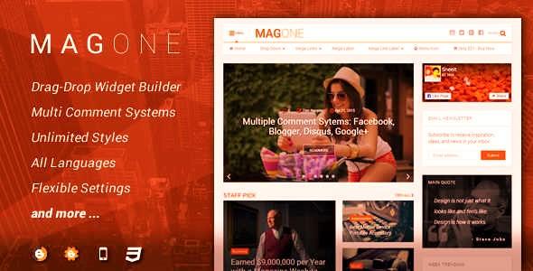 MagOne v6.1.2 – Responsive News & Magazine Blogger Template Premium