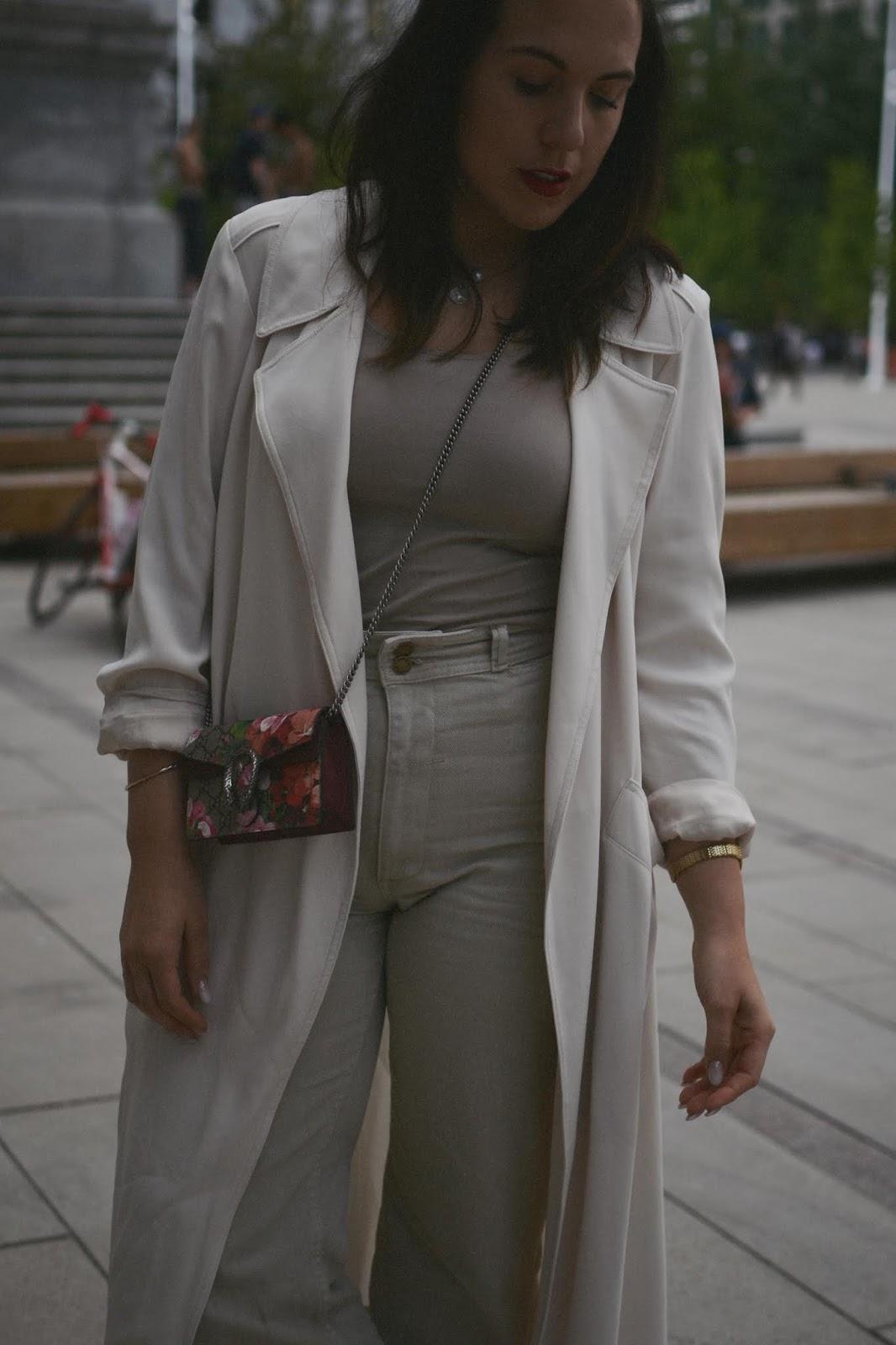 All beige outfit idea monochrome aritzia duster jacket thrills denim culottes le chateau suede mules gucci supreme mini bag