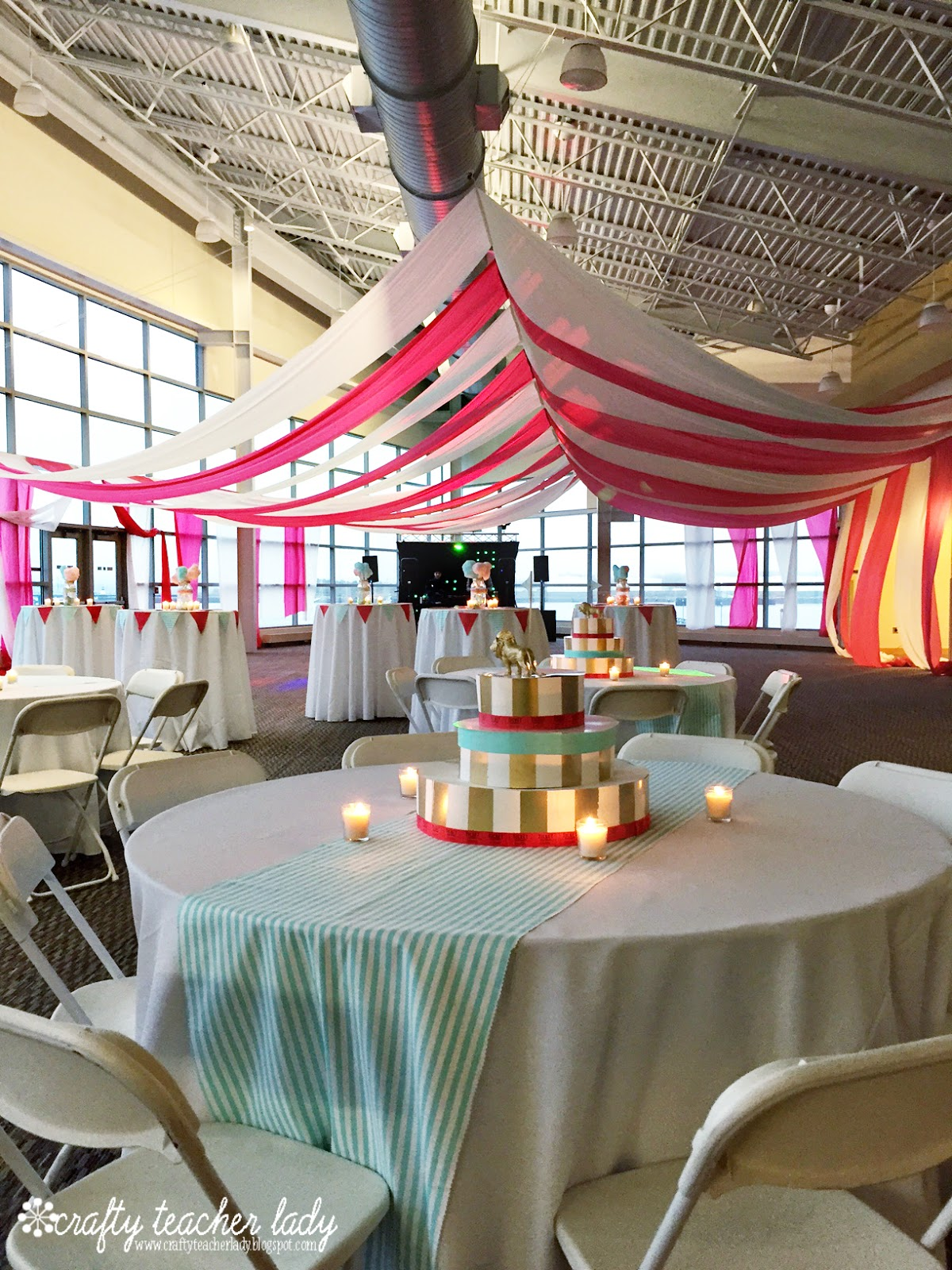 Thinking about our limited budget we got creative and crafty with our centerpieces. For the larger tables we purchased some striped fabric from WalMart to ... & Crafty Teacher Lady: Planning a DIY Circus Party