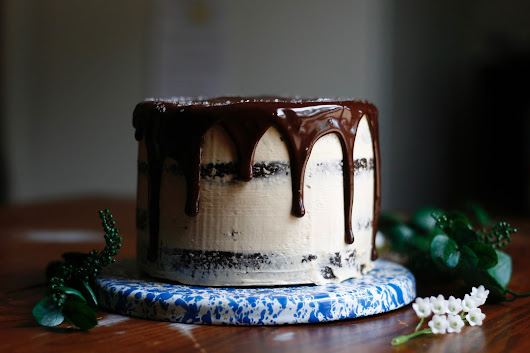 Chocolate Stout Cake with Caramel Swiss Meringue Buttercream