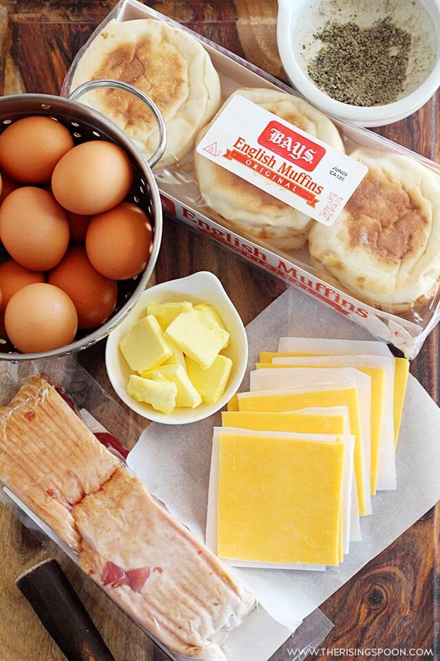 Ingredients For Make Ahead English Muffin Breakfast Sandwiches