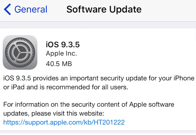 Apple iOS 9.3.5